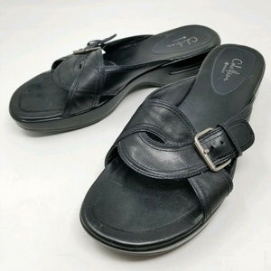 Cole Haan Leather Slides Shoes Buckle Fasten